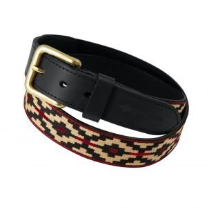 Pampeano-Concha-Polo-Belt-Black-Red