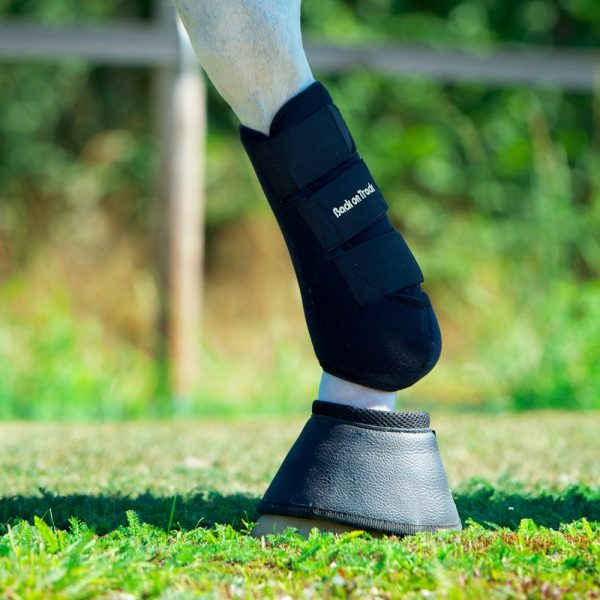 Back-on-Track-Exercise-Boots-Wraps-Black-Front-Hind-3